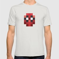 hero pixel red blue Mens Fitted Tee Silver SMALL