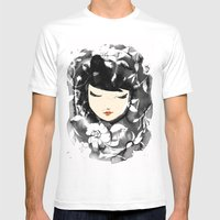 Ink Flower Girl Mens Fitted Tee White SMALL