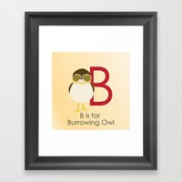 B is for Burrowing Owl Framed Art Print