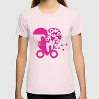Love Drives Me Womens Fitted Tee Light Pink SMALL