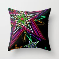 Abstract Colorful Stars Throw Pillow