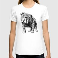 English Bulldog Womens Fitted Tee White LARGE