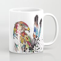 Hawk and Feathers. Mug