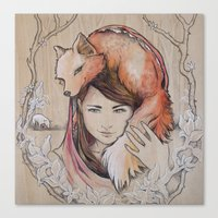 Safe In My Red Riding Ho… Canvas Print