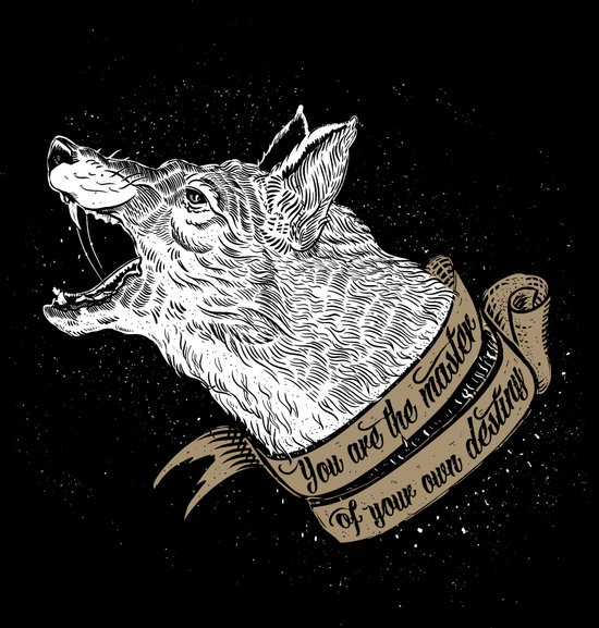 Wolf Protector (Black n Bronze collection) Art Print