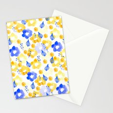 Yellow and Blue Flowers Stationery Cards