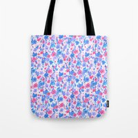 Flower Field Lilac Blue Tote Bag