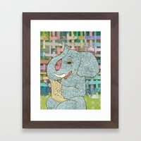 Elephant Reading Framed Art Print