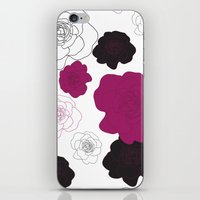 Black and Pink Roses on White iPhone & iPod Skin