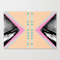 Peachy With Blue Triangl… Canvas Print