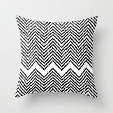 Woven Chevron - Black + White Throw Pillow