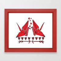 Origami Birds In Love Framed Art Print