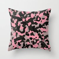Pink Kitty Camo Throw Pillow