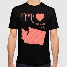 My Heart Belongs in Washington Mens Fitted Tee Black SMALL