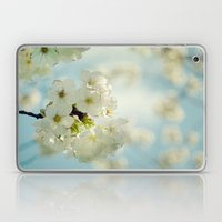 White apple blossoms and a spring blue sky Laptop & iPad Skin