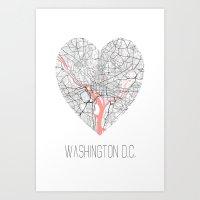 Washington D.C. Map Heart Shape Art Print