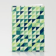 Blue And Green Geometric… Stationery Cards