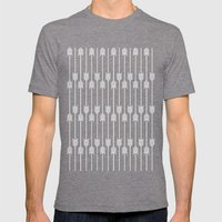 Peach And White Arrows Mens Fitted Tee Tri-Grey SMALL