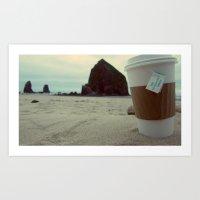 Sipping Tea at Cannon Beach Art Print
