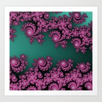 Fractal In Dark Pink And… Art Print