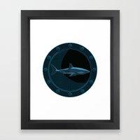 Engraved Shark Framed Art Print