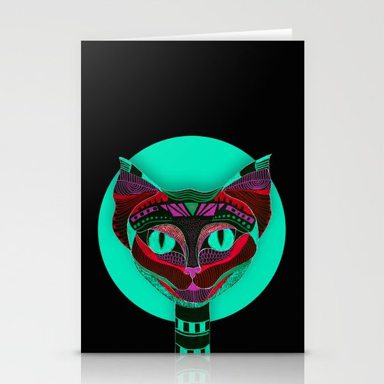 Black CAT- Black Stationery Card