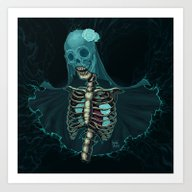 Skeleton With Veil And W… Art Print