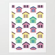 Art Print featuring The Colorful Beach House… by Haidishabrina