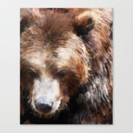 Canvas Print featuring Bear // Gold by Amy Hamilton