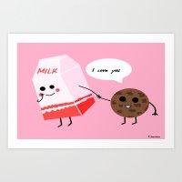 Milk And Cookie Love  Art Print