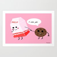 Milk And Cookie Love  Art Print