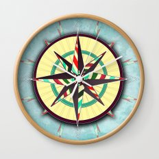 Striped Compass Rose Wall Clock