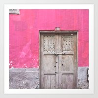 Grey Door on Pink Wall (Retro and Vintage Urban, architecture photography) Art Print