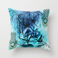 Turquoise Hamsa Throw Pillow