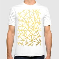 Abstract Outline Thick Gold Mens Fitted Tee White SMALL