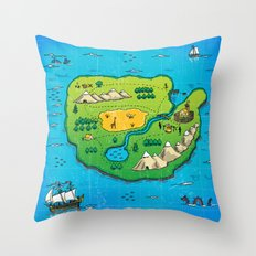 Old pirate's map Throw Pillow