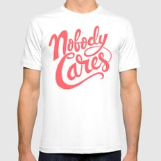 Nobody Cares White SMALL Mens Fitted Tee
