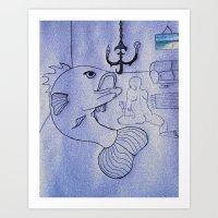 LIVING ROOM MAN-FISH SUICIDE Art Print