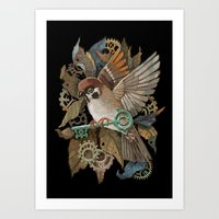 Clockwork Sparrow Art Print