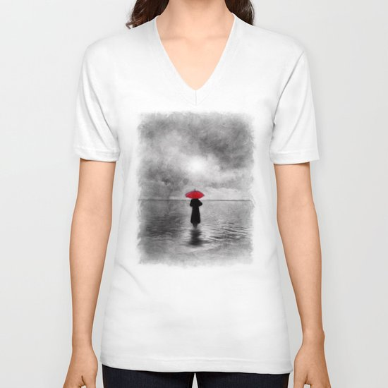waiting in the sea II  -  by Viviana Gonzalez V-neck T-shirt