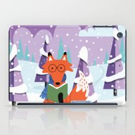 Fox And Books - Purple iPad Case