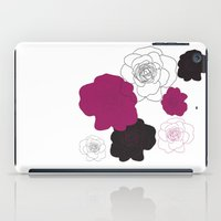 Black and Pink Roses on White iPad Case