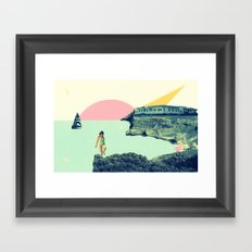 LITTLE GIRL ON THE BEACH Framed Art Print