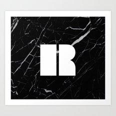 Black Marble - Alphabet R Art Print