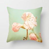Aprils' Pink Blossom Throw Pillow