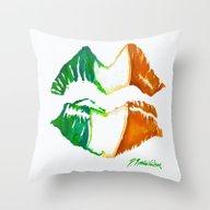Throw Pillow featuring Kiss Me, I'm Irish by D. Renee Wilson