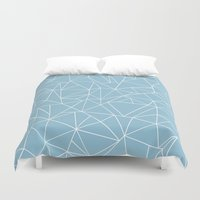 Abstraction Outline Sky Blue Duvet Cover