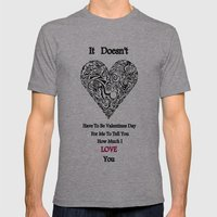 Vday Mens Fitted Tee Athletic Grey SMALL