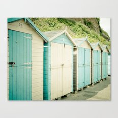 Duck Egg Blue and Cream Beach Huts Canvas Print