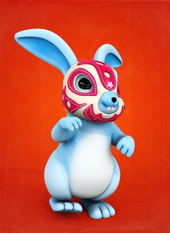 Lucha Rabbit-Blue Brother Art Print